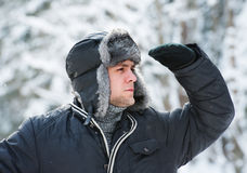 Man in a fur winter hat Royalty Free Stock Photos