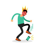 Man in a fury kicking his phone vector Illustration Stock Photo