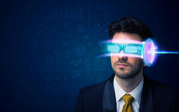 Man from future with high tech smartphone glasses Royalty Free Stock Images