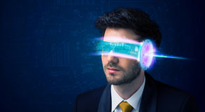 Man from future with high tech smartphone glasses Royalty Free Stock Photography
