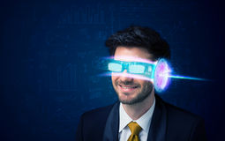 Man from future with high tech smartphone glasses Stock Photography