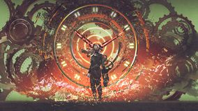 The man of futuristic clock. Cyborg man standing on cogs gears wheels steampunk elements backgound, digital art style, illustration painting stock illustration