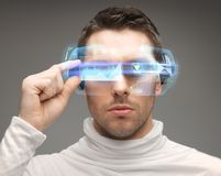 Man in futuristic glasses Royalty Free Stock Photography