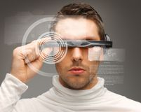Man with futuristic glasses. Picture of handsome man with futuristic glasses Royalty Free Stock Image