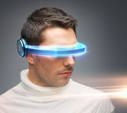 Man with futuristic glasses Stock Photos