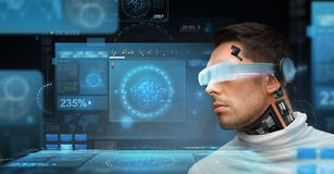 Man with futuristic glasses and sensors Stock Image