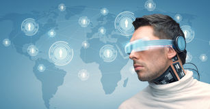 Man with futuristic glasses and sensors Royalty Free Stock Photos