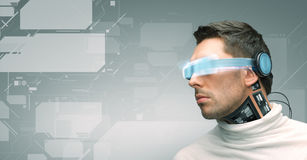 Man with futuristic glasses and sensors Stock Photos