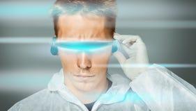 Man in futuristic glasses Stock Photography
