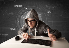 Man in futuristic  hacking Stock Photo