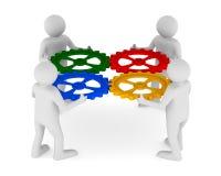 Man fyra med färgkugghjulet på vit bakgrund Fotografering för Bildbyråer