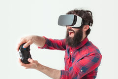 Man with gamepad and vr headset Stock Photos
