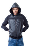Man gangster black jacket hood pockets Royalty Free Stock Image