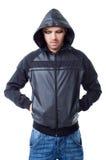 Man gangster black jacket hood pockets Royalty Free Stock Image