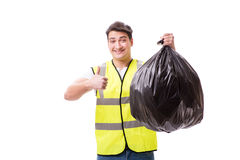 The man with garbage sack isolated on white Stock Photos