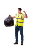 The man with garbage sack isolated on white Royalty Free Stock Photos
