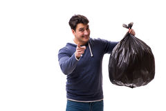 The man with garbage sack isolated on white Stock Photography