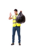 The man with garbage sack isolated on white Royalty Free Stock Images