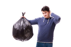 The man with garbage sack isolated on white Stock Image