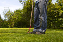 Man in garden. Man standing with garden tool on grass lawn Royalty Free Stock Image