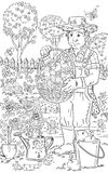 Man in the garden. Black and white illustration of the man in the garden Royalty Free Stock Image
