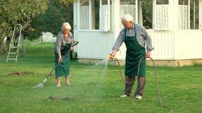 Man with garden hose. Couple of seniors outdoors. Jobs in horticulture stock video footage