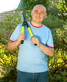 Man with garden pruner Royalty Free Stock Photo