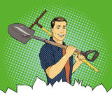 Man with garden tools. Vector illustration in retro comic pop art style Stock Photos