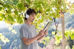 Man at the garden Stock Photo