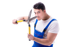 Man gardener with gardening scissors on white background isolate Stock Photography
