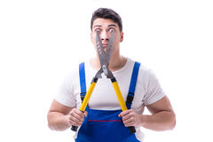 Man gardener with gardening scissors on white background isolate Royalty Free Stock Photography