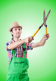 The man gardener with shears on white Royalty Free Stock Images
