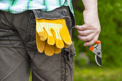 Man with gardening shears Stock Photo
