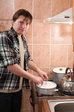The man for a gas cooker. Royalty Free Stock Image