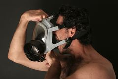 Man with gas mask. Screaming royalty free stock image
