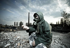 Man in gas mask Royalty Free Stock Images