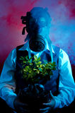 Man with a gas mask Stock Photos