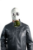 Man in Gas Mask. Men wearing a biker jacket and gas mask simbolizing danger in the environment Royalty Free Stock Photos
