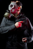 Man with gas mask and gun Royalty Free Stock Photography
