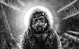 Man in gas mask. Infection area. royalty free stock photos