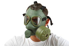 Man in gas mask looking angry Stock Images