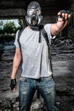 Man in gas mask Royalty Free Stock Image