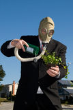 Man with gas mask and plant. Royalty Free Stock Photography