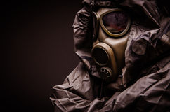 Man with a gas mask wearing hazmat suit - close up Royalty Free Stock Photo
