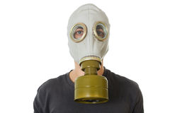Man in gas mask on white Stock Photography