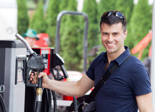 Man at gas station Stock Photography