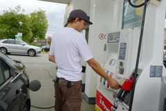 Man at a Gas Station Stock Photography