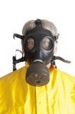Man in gasmask. Man wearing a gasmask isoalted over white Royalty Free Stock Image