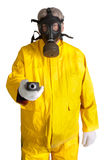 Man in gasmask. Man wearing a gasmask isolated over white holding a geiger counter Royalty Free Stock Photos