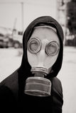 Man in gasmask. Black and white portrait of man wearing gasmask Stock Images